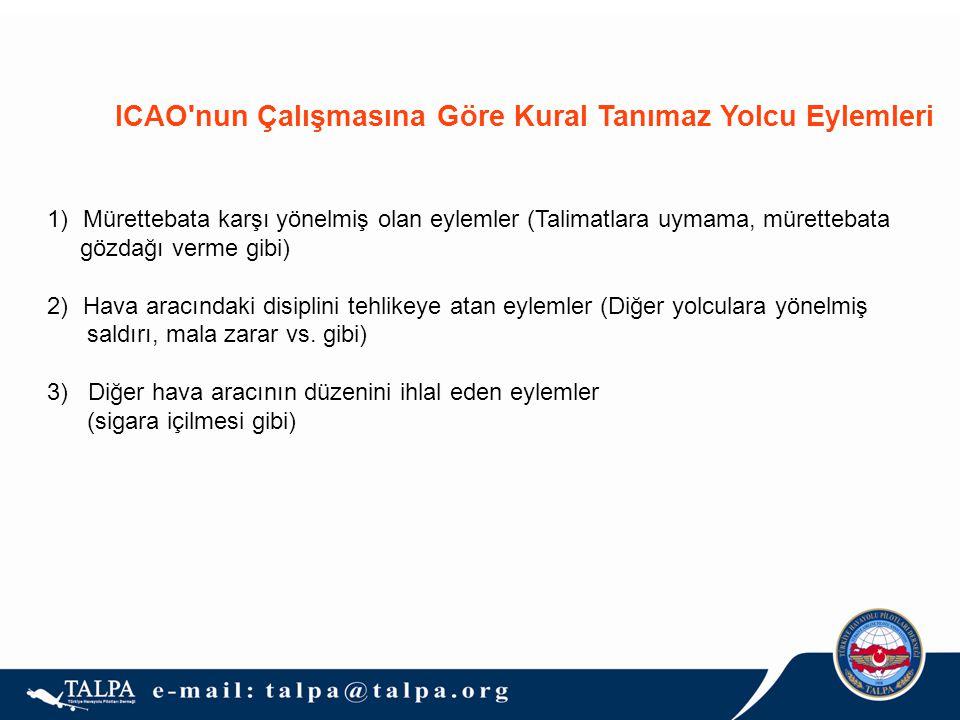 ICAO nun Çalışmasına Göre Kural Tanımaz Yolcu Eylemleri