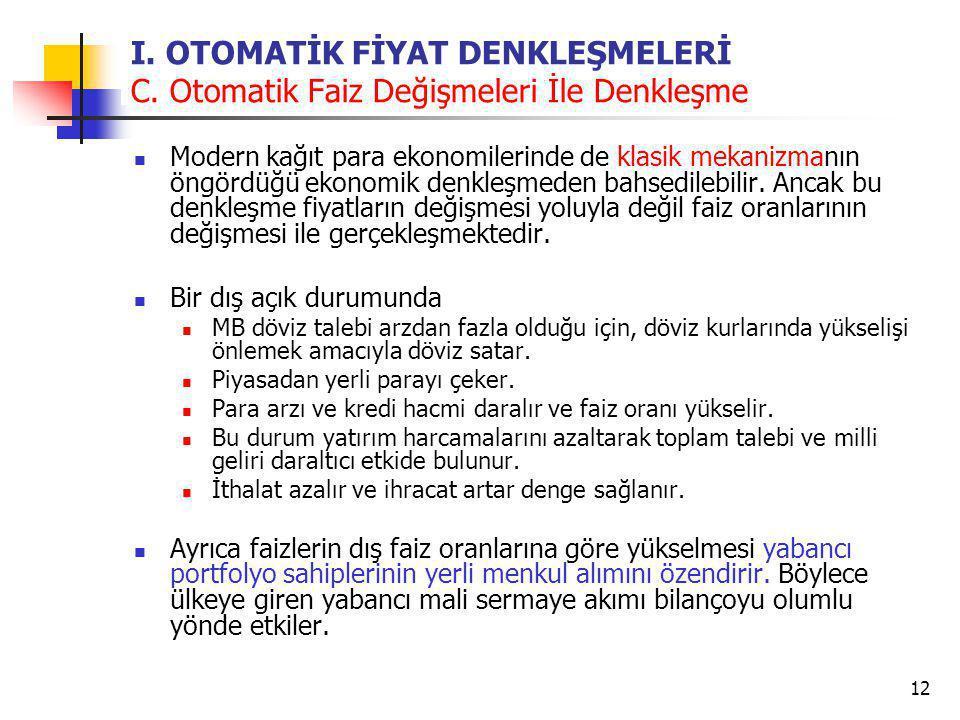 I. OTOMATİK FİYAT DENKLEŞMELERİ C