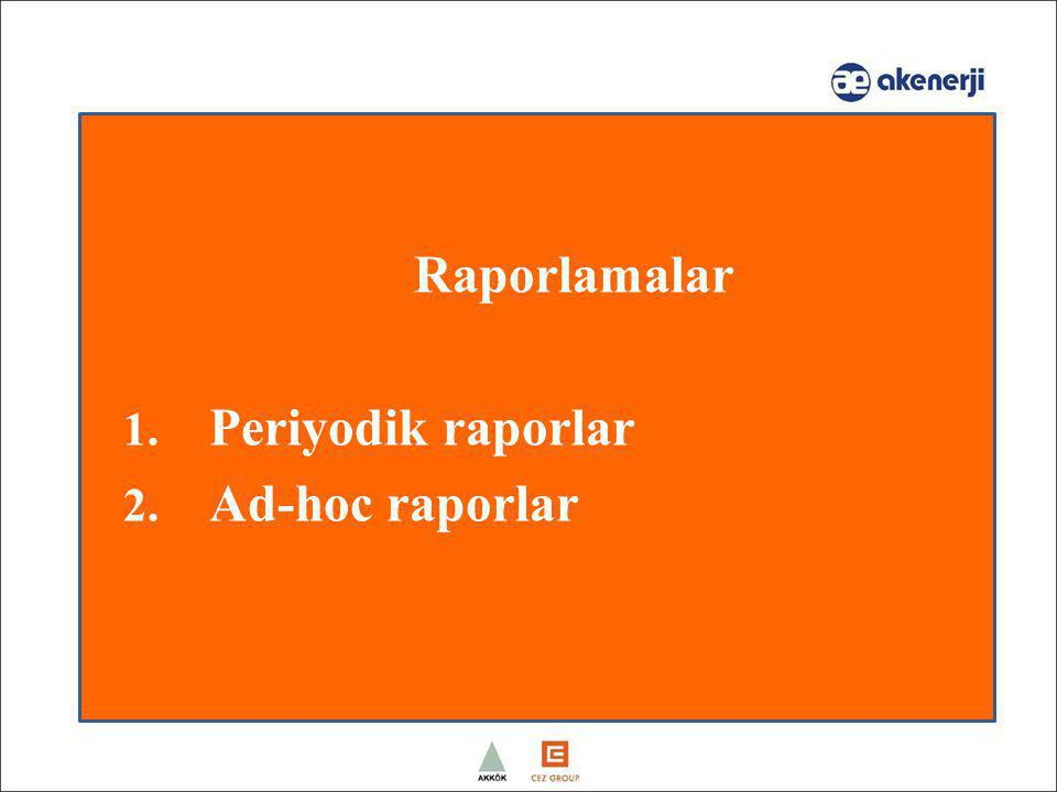 Raporlamalar Periyodik raporlar Ad-hoc raporlar Speaker: Alina/Jeremy