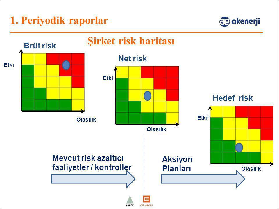 1. Periyodik raporlar Şirket risk haritası Brüt risk Net risk