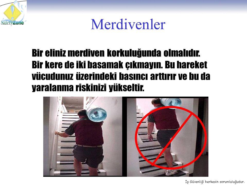 Merdivenler Bir eliniz merdiven korkuluğunda olmalıdır.