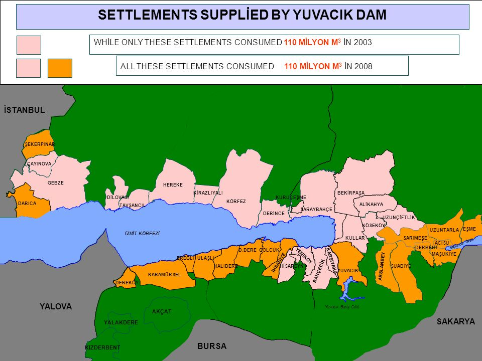 SETTLEMENTS SUPPLİED BY YUVACIK DAM