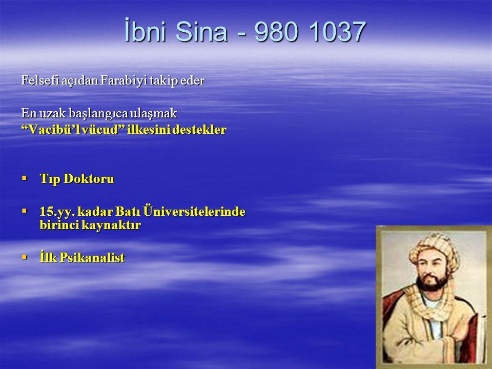 İbni Sina - 980 1037 Felsefi açıdan Farabiyi takip eder