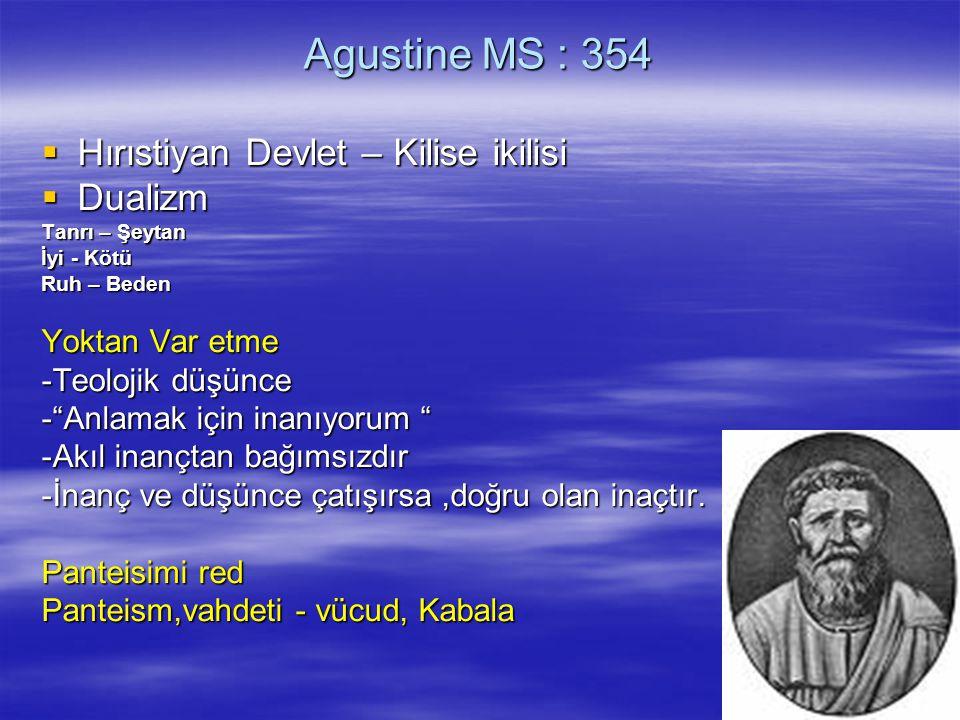 Agustine MS : 354 Hırıstiyan Devlet – Kilise ikilisi Dualizm