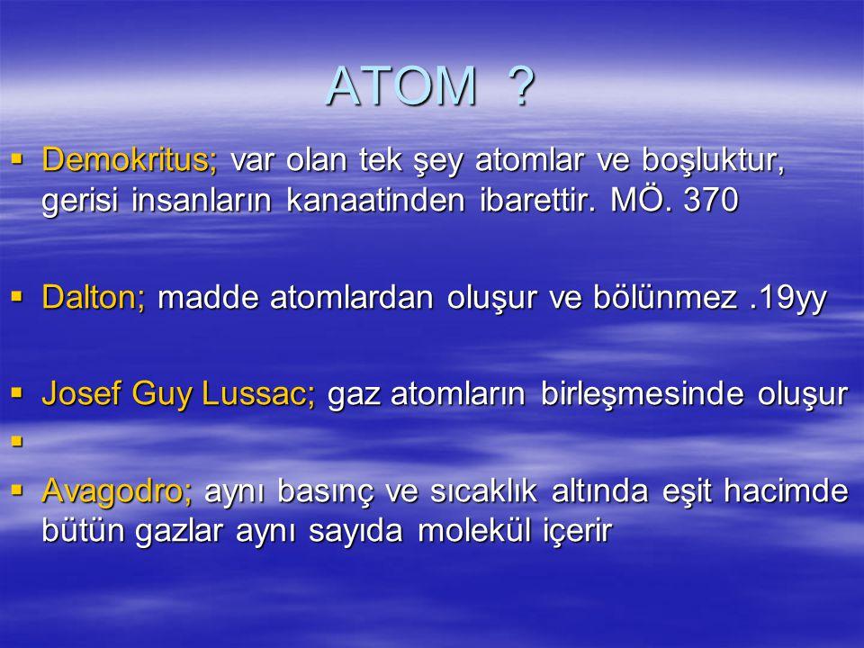 ATOM Demokritus; var olan tek şey atomlar ve boşluktur, gerisi insanların kanaatinden ibarettir. MÖ. 370.