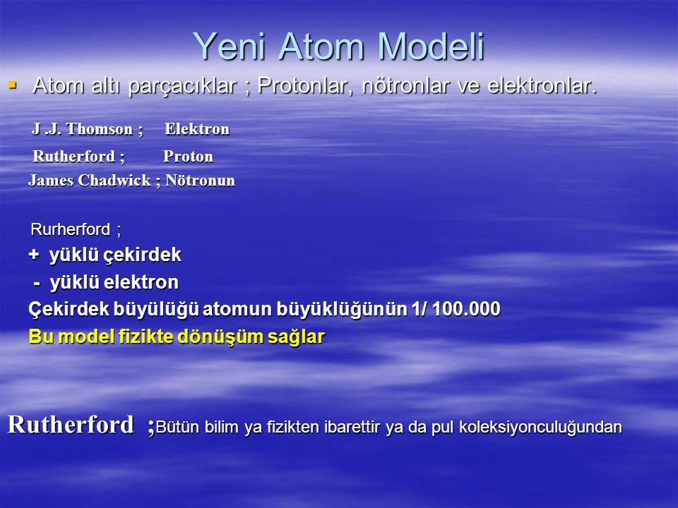 Yeni Atom Modeli J .J. Thomson ; Elektron