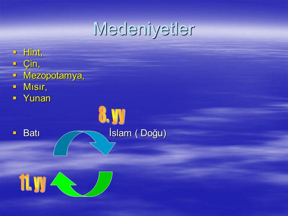 Medeniyetler 8. yy 11. yy Hint, Çin, Mezopotamya, Mısır, Yunan