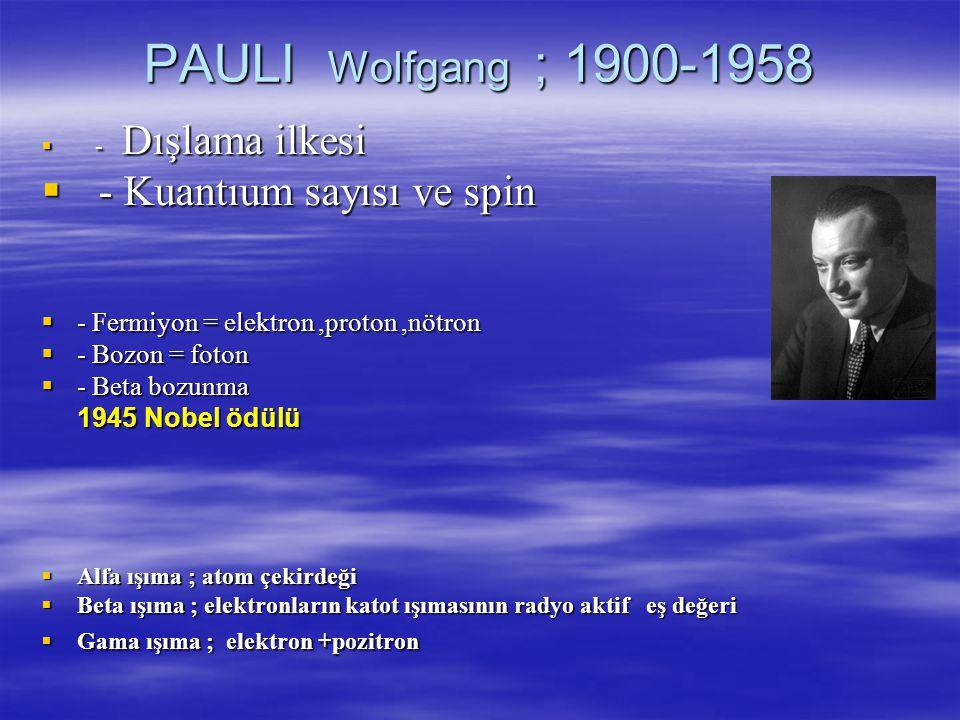 PAULI Wolfgang ; 1900-1958 - Kuantıum sayısı ve spin