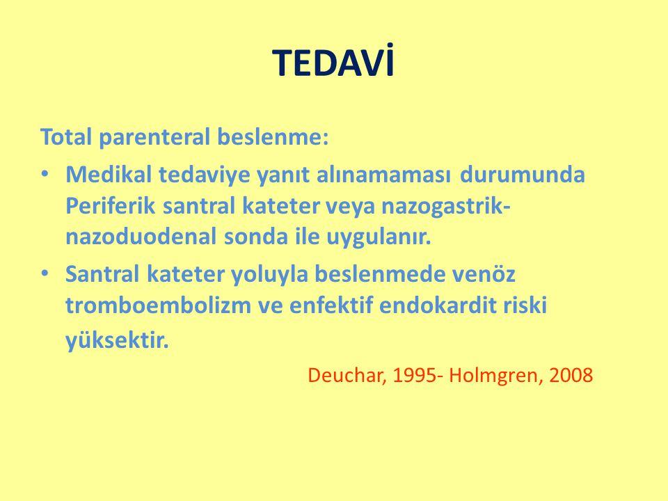 TEDAVİ Total parenteral beslenme: