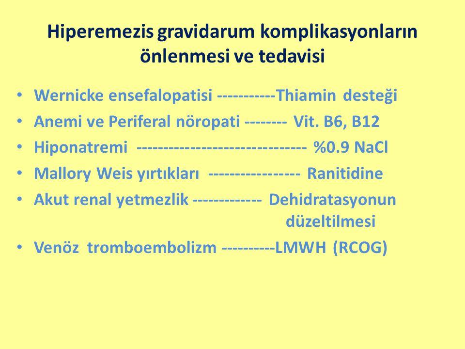 Hiperemezis gravidarum komplikasyonların önlenmesi ve tedavisi