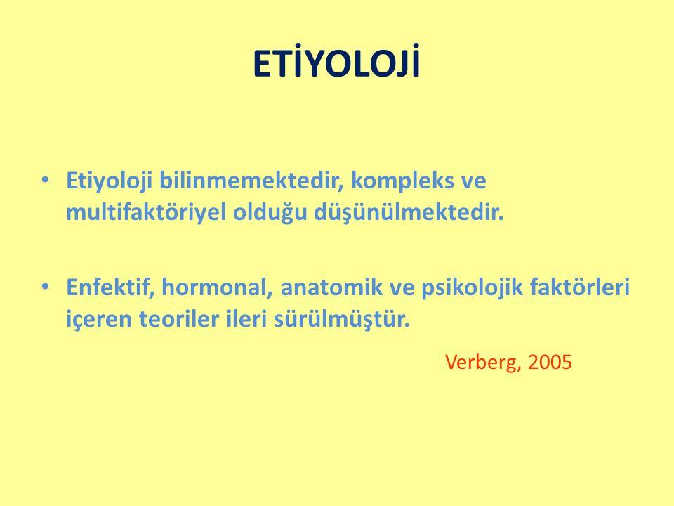 ETİYOLOJİ Etiyoloji bilinmemektedir, kompleks ve multifaktöriyel olduğu düşünülmektedir.
