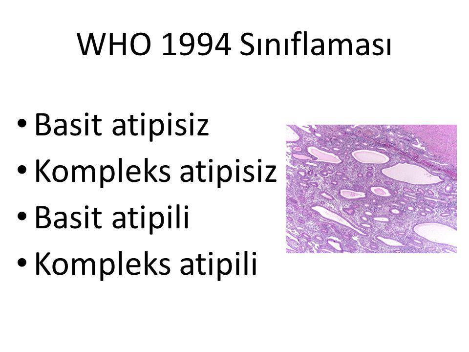 WHO 1994 Sınıflaması Basit atipisiz Kompleks atipisiz Basit atipili