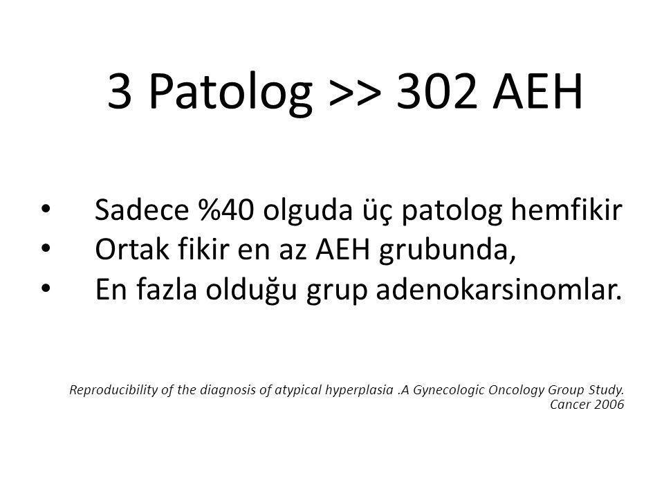 3 Patolog >> 302 AEH Sadece %40 olguda üç patolog hemfikir