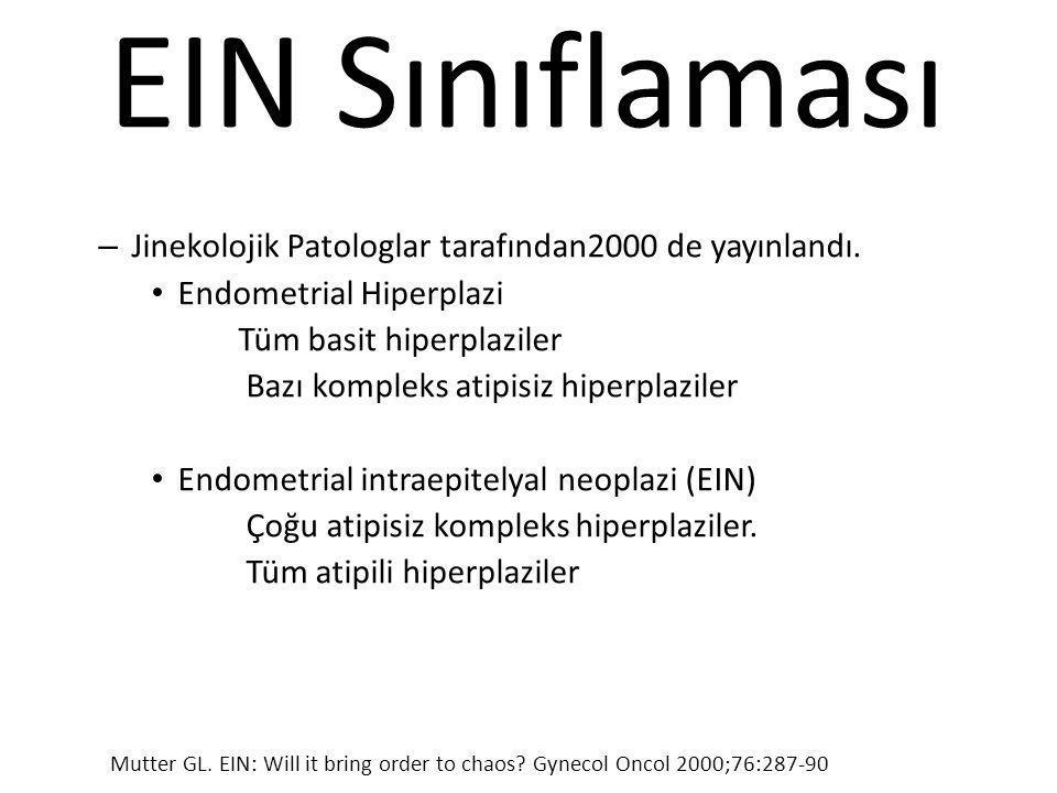 EIN Sınıflaması Jinekolojik Patologlar tarafından2000 de yayınlandı.