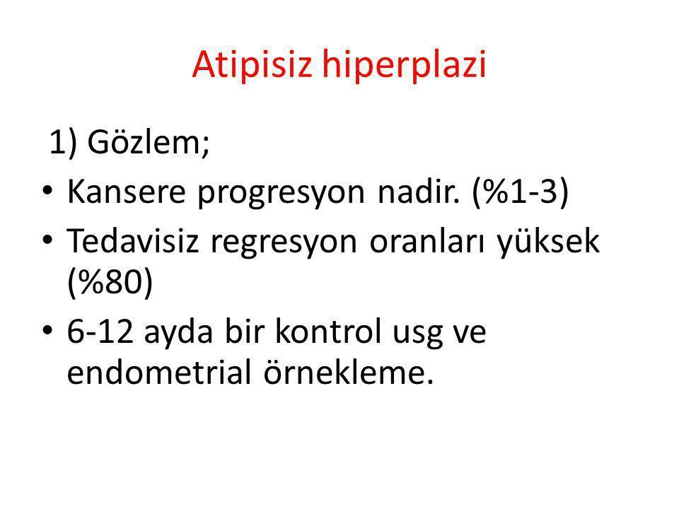 Atipisiz hiperplazi Kansere progresyon nadir. (%1-3)