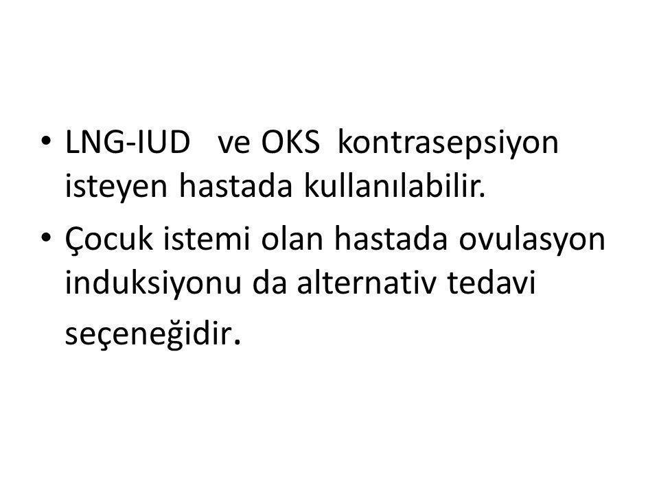 LNG-IUD ve OKS kontrasepsiyon isteyen hastada kullanılabilir.