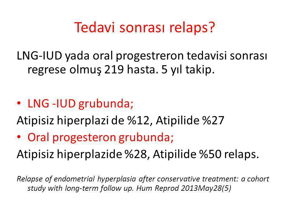 Tedavi sonrası relaps LNG-IUD yada oral progestreron tedavisi sonrası regrese olmuş 219 hasta. 5 yıl takip.