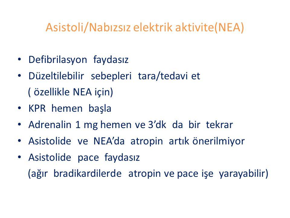 Asistoli/Nabızsız elektrik aktivite(NEA)