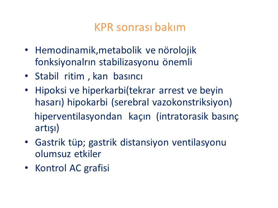 KPR sonrası bakım Hemodinamik,metabolik ve nörolojik fonksiyonalrın stabilizasyonu önemli. Stabil ritim , kan basıncı.