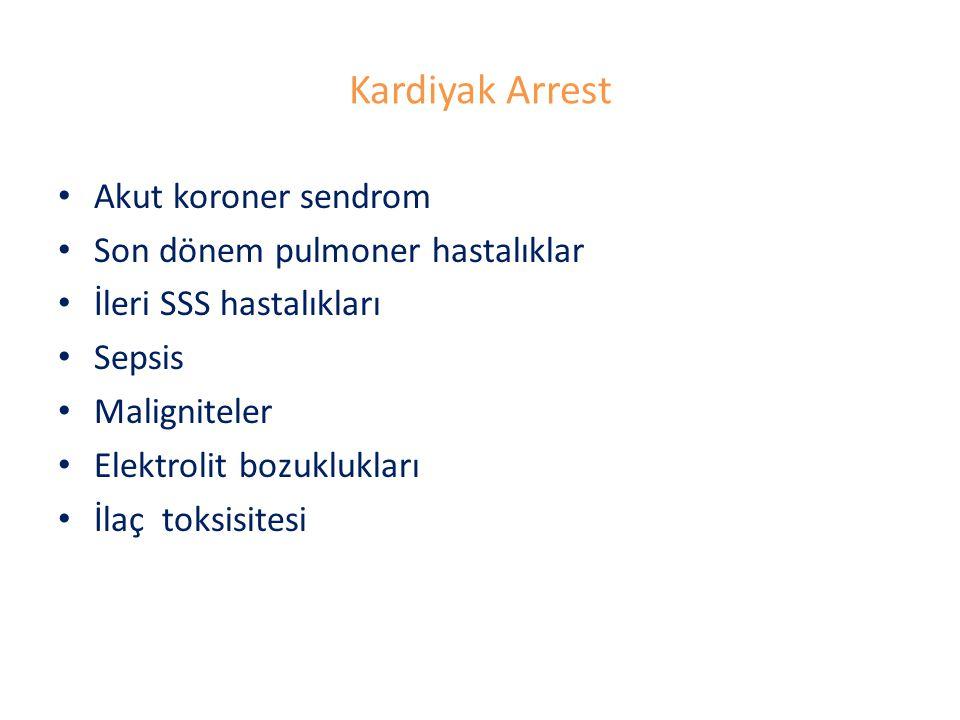 Kardiyak Arrest Akut koroner sendrom Son dönem pulmoner hastalıklar