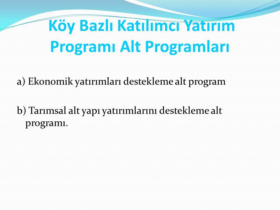 Köy Bazlı Katılımcı Yatırım Programı Alt Programları