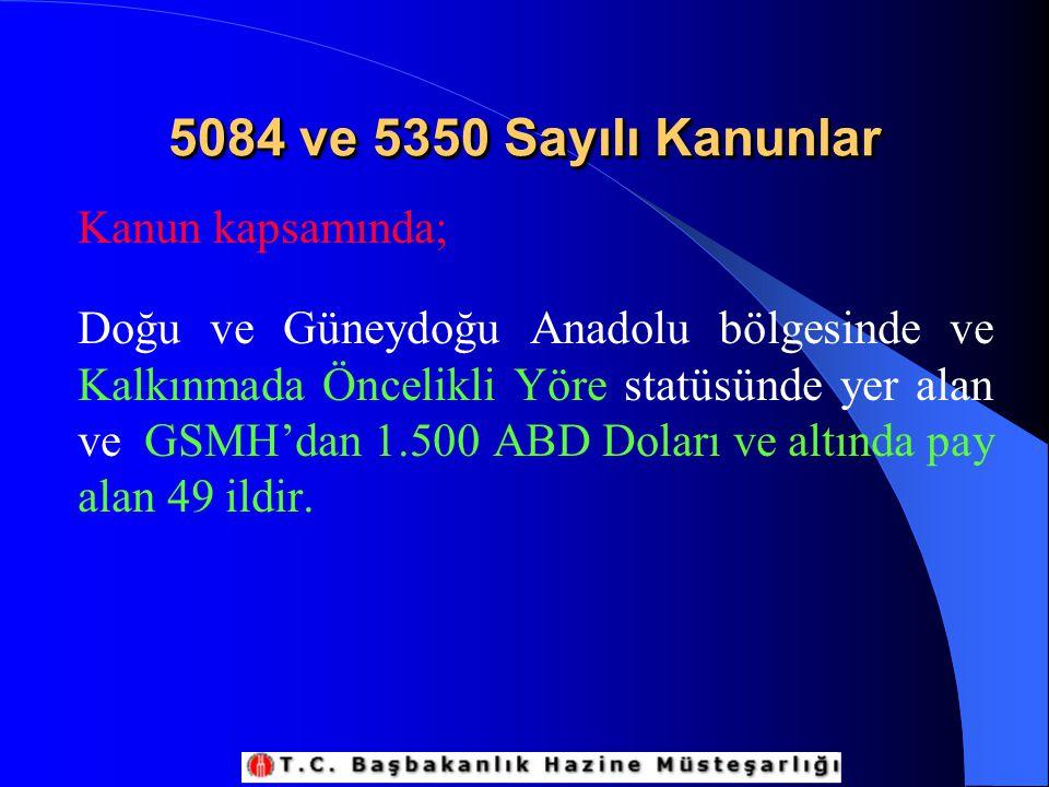 5084 ve 5350 Sayılı Kanunlar Kanun kapsamında;