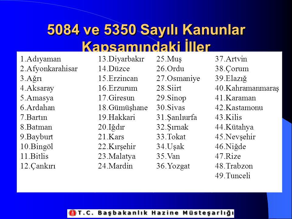 5084 ve 5350 Sayılı Kanunlar Kapsamındaki İller