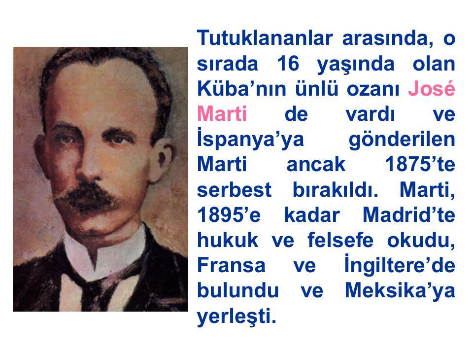 Tutuklananlar arasında, o sırada 16 yaşında olan Küba'nın ünlü ozanı José Marti de vardı ve İspanya'ya gönderilen Marti ancak 1875'te serbest bırakıldı.