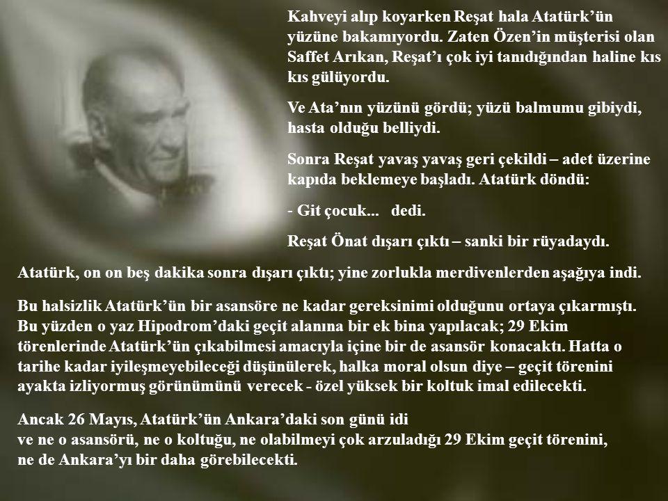 Kahveyi alıp koyarken Reşat hala Atatürk'ün yüzüne bakamıyordu