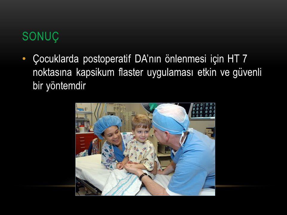 SONUÇ Çocuklarda postoperatif DA'nın önlenmesi için HT 7 noktasına kapsikum flaster uygulaması etkin ve güvenli bir yöntemdir.