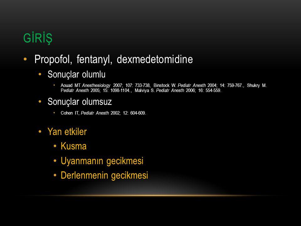 GİRİŞ Propofol, fentanyl, dexmedetomidine Yan etkiler Kusma