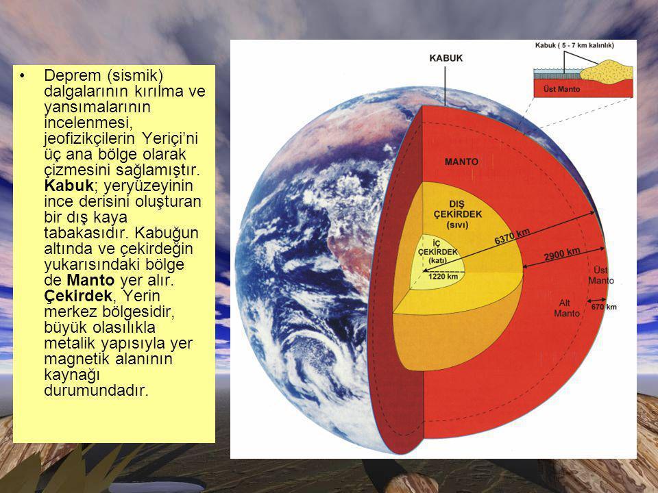 Deprem (sismik) dalgalarının kırılma ve yansımalarının incelenmesi, jeofizikçilerin Yeriçi'ni üç ana bölge olarak çizmesini sağlamıştır.
