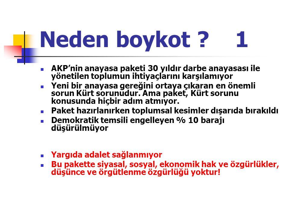 Neden boykot 1 AKP'nin anayasa paketi 30 yıldır darbe anayasası ile yönetilen toplumun ihtiyaçlarını karşılamıyor.