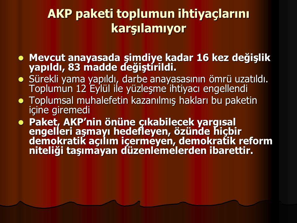AKP paketi toplumun ihtiyaçlarını karşılamıyor