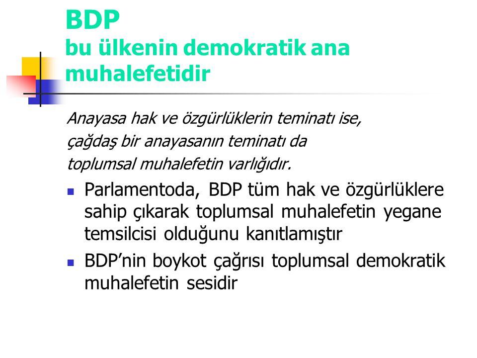 BDP bu ülkenin demokratik ana muhalefetidir