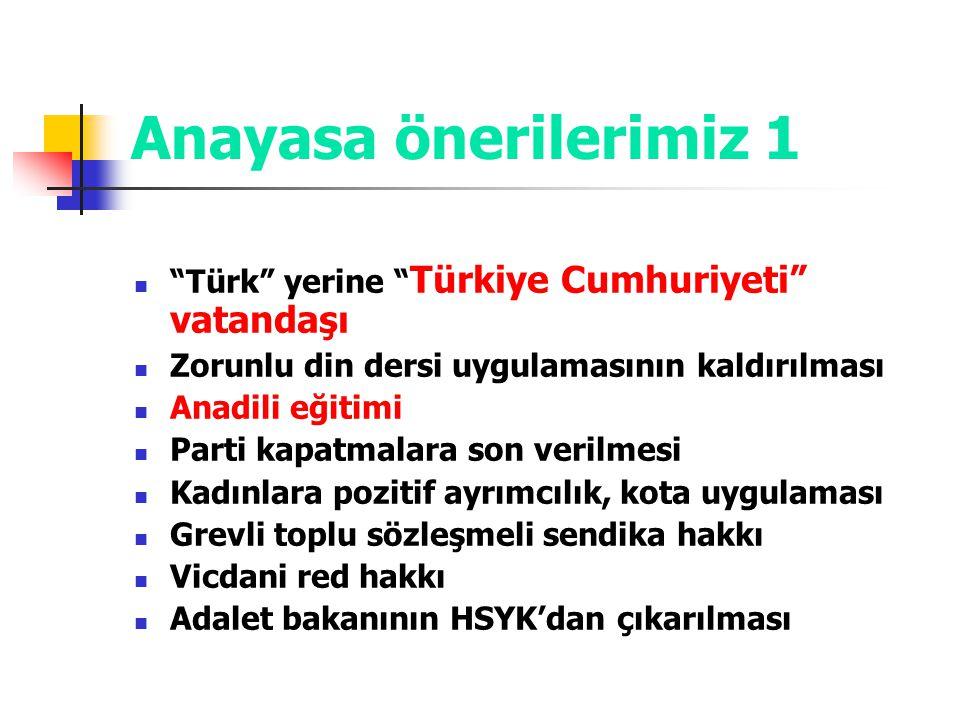 Anayasa önerilerimiz 1 Türk yerine Türkiye Cumhuriyeti vatandaşı