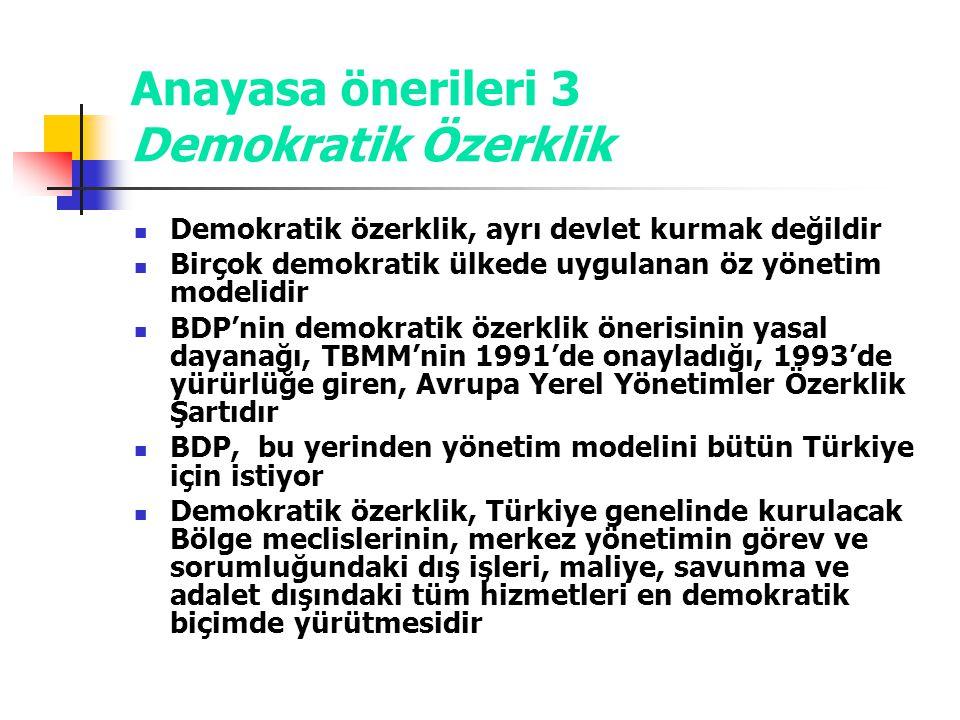 Anayasa önerileri 3 Demokratik Özerklik
