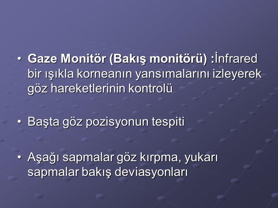 Gaze Monitör (Bakış monitörü) :İnfrared bir ışıkla korneanın yansımalarını izleyerek göz hareketlerinin kontrolü
