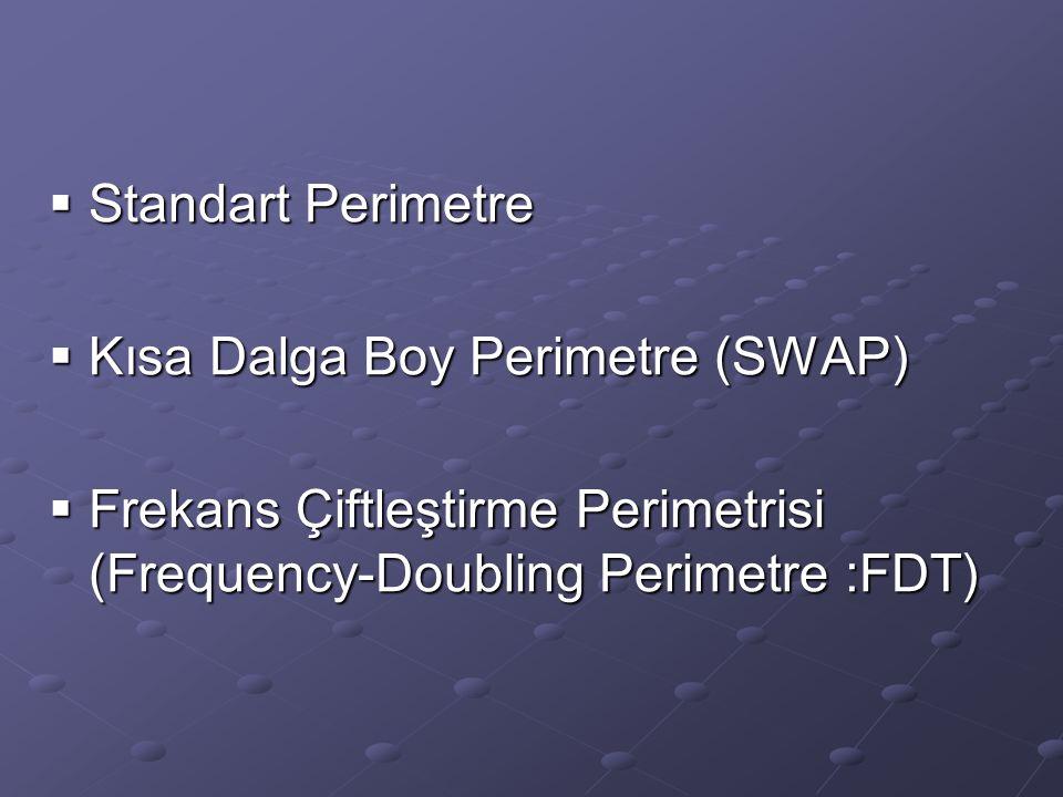 Standart Perimetre Kısa Dalga Boy Perimetre (SWAP) Frekans Çiftleştirme Perimetrisi (Frequency-Doubling Perimetre :FDT)