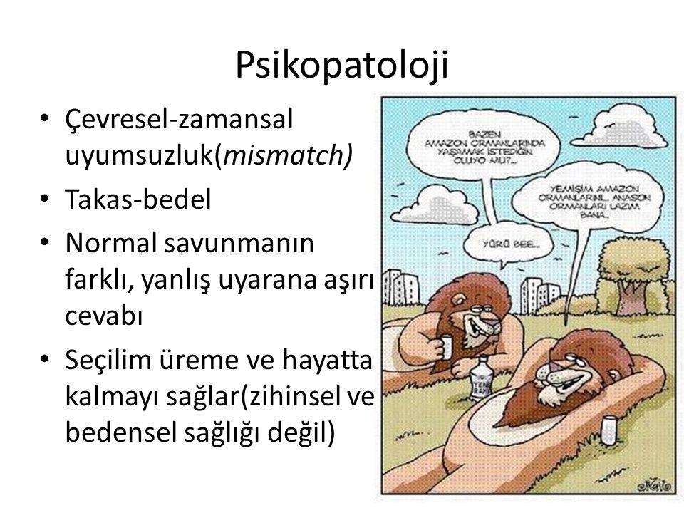 Psikopatoloji Çevresel-zamansal uyumsuzluk(mismatch) Takas-bedel