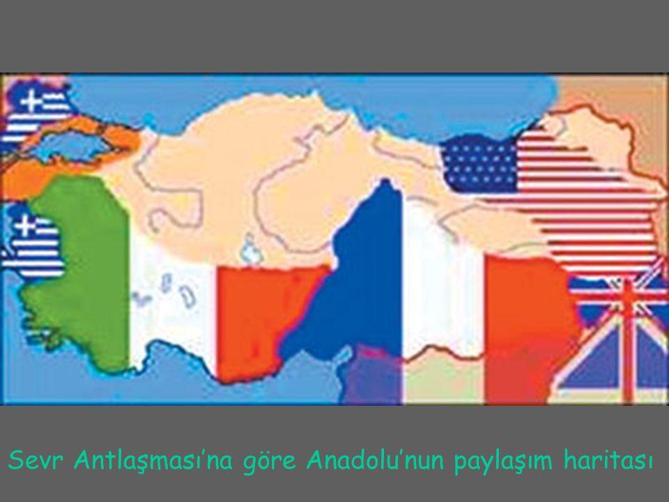 Sevr Antlaşması'na göre Anadolu'nun paylaşım haritası