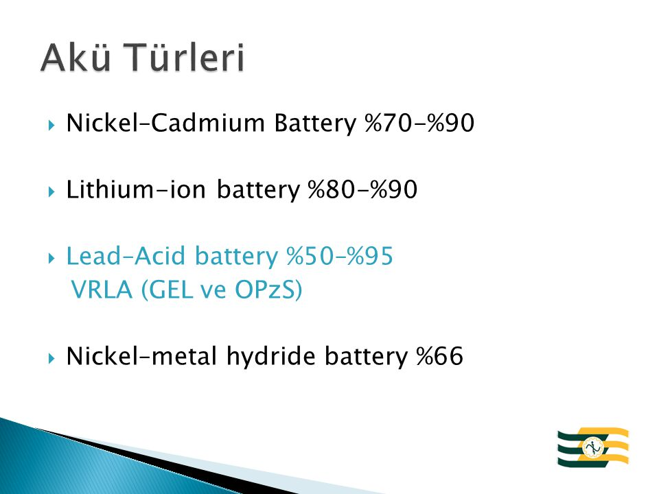 Akü Türleri Nickel–Cadmium Battery %70-%90 Lithium-ion battery %80-%90
