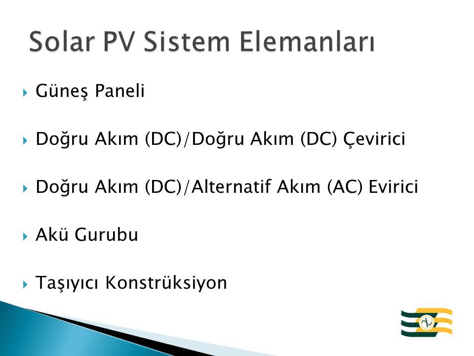 Solar PV Sistem Elemanları