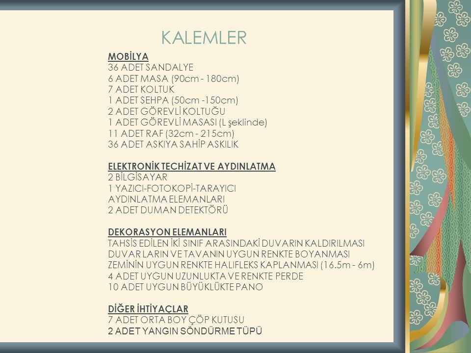 KALEMLER 36 ADET SANDALYE 6 ADET MASA (90cm - 180cm) 7 ADET KOLTUK