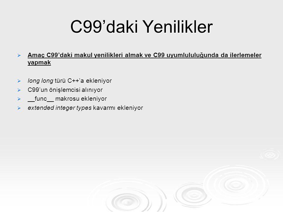 C99'daki Yenilikler Amaç C99'daki makul yenilikleri almak ve C99 uyumlululuğunda da ilerlemeler yapmak.