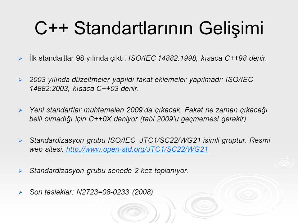 C++ Standartlarının Gelişimi
