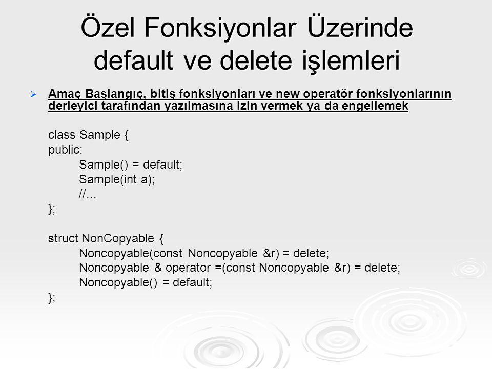 Özel Fonksiyonlar Üzerinde default ve delete işlemleri