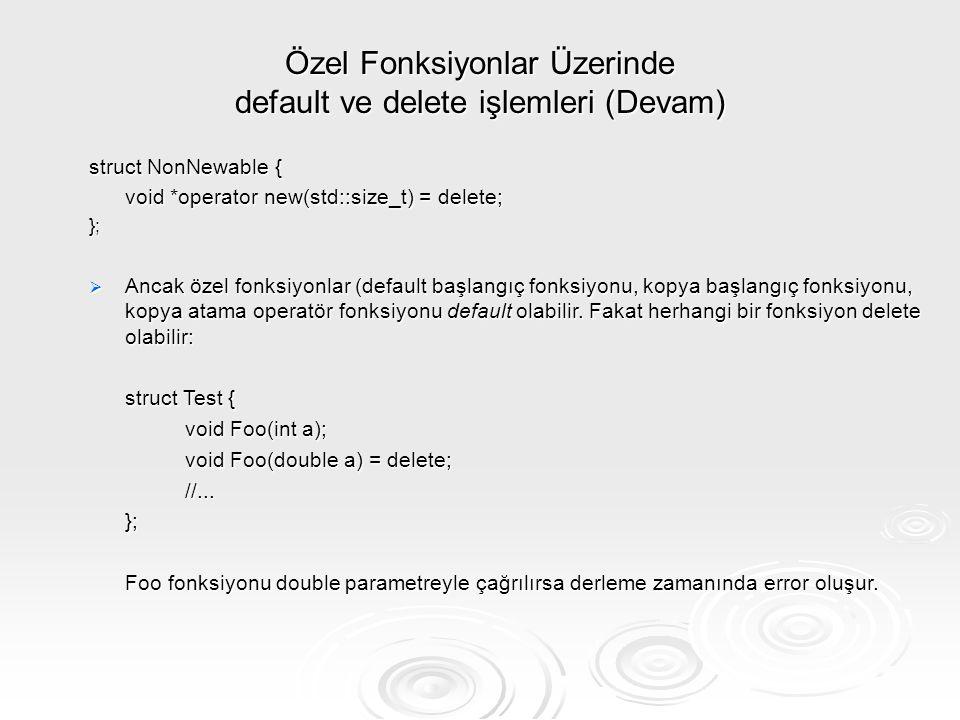 Özel Fonksiyonlar Üzerinde default ve delete işlemleri (Devam)