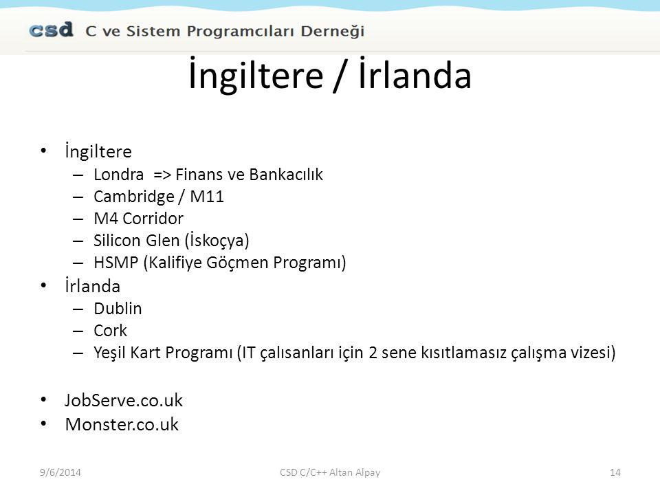 İngiltere / İrlanda İngiltere İrlanda JobServe.co.uk Monster.co.uk