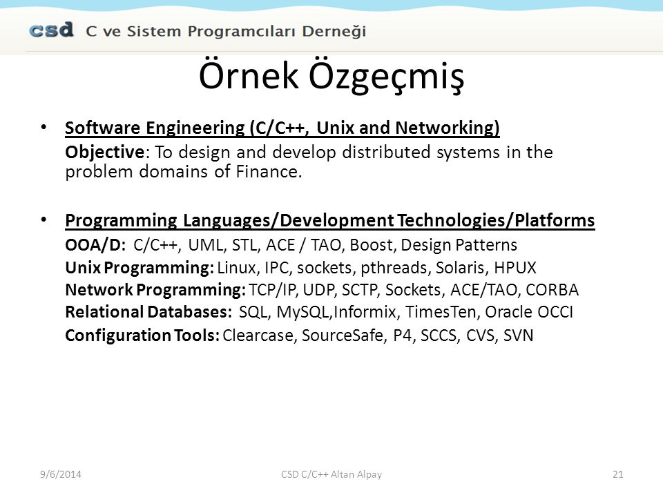 Örnek Özgeçmiş Software Engineering (C/C++, Unix and Networking)